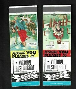 1940's Hanover,PA - Victory Restaurant Advertising Matchcovers Pair
