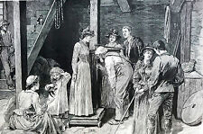 Davis WEIGHING FAMILY in OLD MILL 1891 Medical Diet Doctor Matted Art Engraving