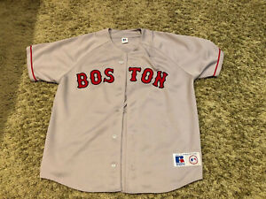 VTG  RUSSELL ATHLETIC GRAY RED SOX JERSEY--SIZE L