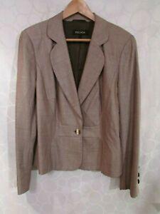 ESCADA Mocha Brown Metallic 1-Button Blazer Jacket Size 12