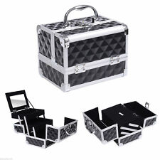 Pro Aluminum Makeup Train Case Jewelry Storage Box Cosmetic Organizer Black