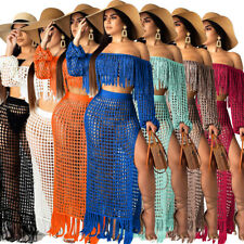Summer Womens Boat Neck Tassel Tops High Slit Skirt Mesh Hollow Beach Dress 2pcs