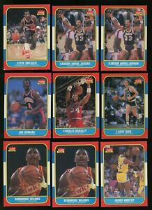 Investor LOT (9) 1986 Fleer Basketball HOF & RC w/ Barkley Drexler Kareem Bird