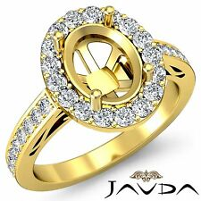 Classic 18k Yellow Gold 1.3Ct Diamond Engagement Oval Semi Mount Halo Pave Ring
