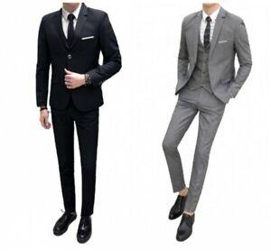 Men's Formal Dress 3PCS Suit Two Button Business Wedding Groom Dinner Blazer L