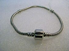 "Silver Tone Snake Chain Bracelet, 7"", 3mm wide with hinged Barrel Clasp"