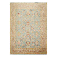 "9' x 12'6"" Hand Knotted Wool Stone Wash Peshawar Vegetable Dye Area Rug Aqua"