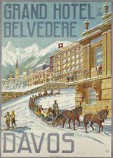 Vintage Ski Posters DAVOS GRAND BELVEDERE, Swiss, 1905, 250gsm A3 Travel Print