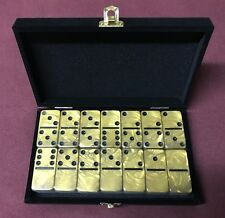 Dominoes Double Six 6 Gold Domino Tournament Size in Velvet Case FREE Shipping