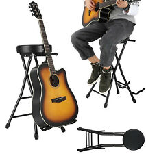 Easy Carry Folding Sponge Padded Guitar Seat Foot Stool with Guitar Holder Stand