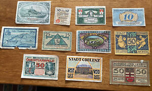 German Vintage Antique Emergency Money Banknotes 1920's Rare x11 War Notgeld