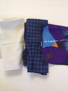 Mens lot of 3 Cotton Pocket Squares Blue Purple White