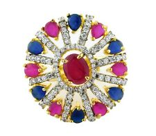 Indian American Diamond Jewelry Fashion Diamante Ruby Fashion Ring Adjustable