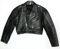 Vtg Men's Black 100% Leather German Motorcycle Biker Rockabilly Jacket Size M