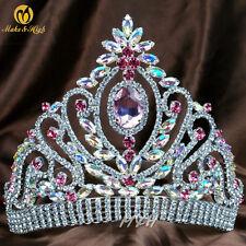 US Queen Pink Rhinestones Tiara Women Full Round Crown Wedding Brides Diamante