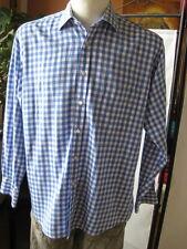 Abercrombie & Fitch bonito camisa 42-l-xl blanco-azul a cuadros manga larga top clásica