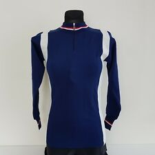Santini vintage wool cycling jersey long sleeve size 0 navy white new retro  bike cf13598f4
