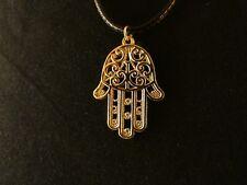 Hand der Fatima Anhänger mit Kette 24 Karat Vergoldet Gold Hamsa Glauben