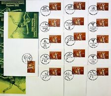 1982 Brisbane Commonwealth Games Set E 16 pmks 27c Weightlifter 30/9/82 Rrp$6.72