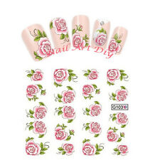 Nail art water transfers Stickers-Decals-Adesivi Unghie Fiori Rosa-BUY 3 GET 4