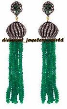 Emerald Silver Tassel Earring Jewelry Gorgeous Vintage 4.63cts Rose Cut Diamond