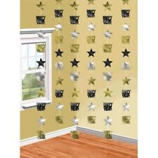 Happy New Years Eve 6 Doorway Foil Star String Decoration Black Gold Silver