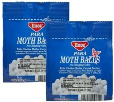 2 Boxes Enoz Para MOTH BALLS Kills Clothe Moths Carpet Beetles No Clinging Odor