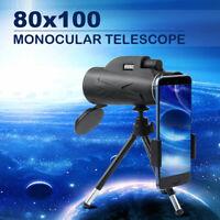 80X100 HD Zoom Lens Prism Hiking Monocular Telescope+Simple Phone Clip+Tripod