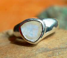 Silberring Handarbeit Mondstein Weiß Massiv 58 Dreieckig Ring Silber Elegant