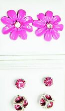 3 pairs deep pink stud earrings 1 flower 15mm 1 cube 7mm and 1 crystal 4mm