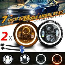 """Pair 7"""" 200W LED Headlights Halo Angel Eyes DRL Beam for Ford F100 F150 Mustang"""