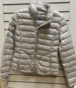 Calvin Klein Womens S Quilted Down Coat Packable Puffer Jacket Silver Grey Ski