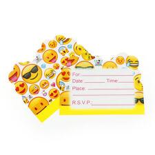 10pcs Cartoon Emoji Theme Invitations Cards Birthday Wedding Party Supplies