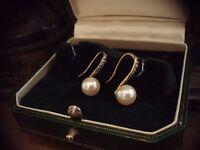 Vintage Art Deco Turquoise Crystal & Pearl Drop Hook Earrings  Downton Abbey