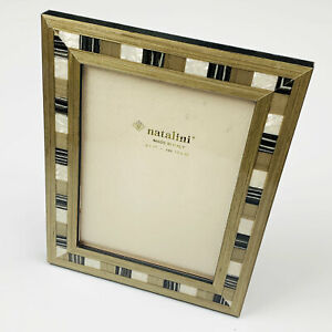 """Natalini Made in Italy Italian 5""""x7"""" Green Black Wood Picture Frame Marquetry"""