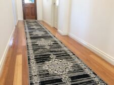 Dalia Grey Black Hallway Runner Traditional Hall Runner Rug 4 Metres Long