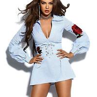 By Alina Mexton Damen Blusenkleid Minikleid Tunika V-Ausschnitt Longbluse XS 34