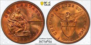 1928 M U.S. Philippines 1 Centavo PCGS MS65 RD Red Bronze Registry Coin KM163