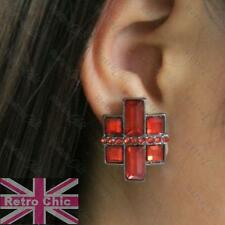 DARK RED cross RHINESTONE STUD EARRINGS retro modern square studs GUNMETAL BLACK