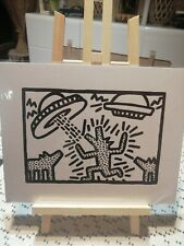 KEITH HARING Carte Cartonnee DOGS with UFOS 1982 Moco Museum