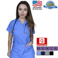 Women's Medical Scrubs Uniform Set V-neck Wrap Top with Red Neckline 7 Pockets