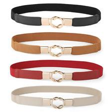 4 Pack Women Skinny Belt for Dresses Retro Stretch Ladies Waist Belt Plus Size