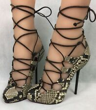 NEW 100% Authentic Christian Louboutin Wales Python Lucido Lace Up Heels Pumps