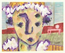 CLOWN AT HOME abstract/folk/outsider? Canadian mixed media painting J.Swinton NR