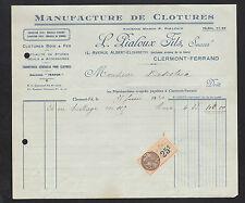 """CLERMONT-FERRAND (63) USINE de CLOTURES Bois & Fers """"L. PIALOUX Fils"""" en 1930"""