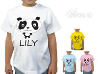 BABY GIRL BOY CHILDRENS KIDS PERSONALISED PANDA T-SHIRT