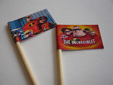 20 CUPCAKE FLAGS/TOPPERS - THE INCREDIBLES CHILDRENS BIRTHDAY PARTY