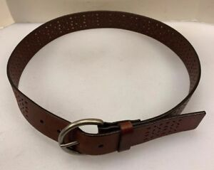 Aeropostale Women Small S Belt Brown Leather Geometric BOHO