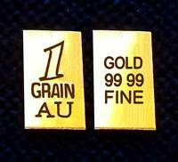 ACB Vertical 24k FINE Gold 99.99 Pure 1Grain Bullion Bar INGOT. +