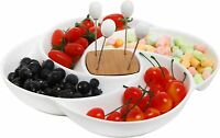 Decorative White Ceramic Appetizer Serving Platter Tray with Food Picks and Wood